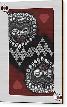 African Queen-of-hearts Card Wood Print