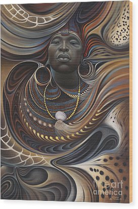 African Spirits I Wood Print by Ricardo Chavez-Mendez
