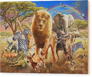 African Stampede Wood Print by Adrian Chesterman