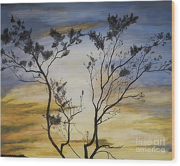 African Sunset Wood Print by Stuart Engel