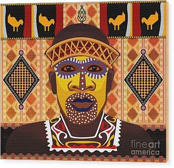African Tribesman 2 Wood Print by Peter Awax