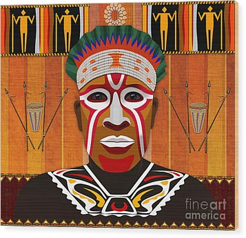 African Tribesman 3 Wood Print by Bedros Awak