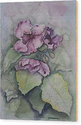 African Violets Wood Print by Rebecca Matthews