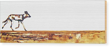 Endangered African Wild Dog - Original Artwork Wood Print