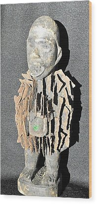 African Wood Carving With Nail Fetish Wood Print by Anonymous