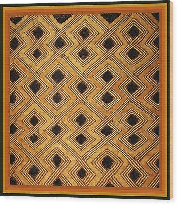African Zaire Congo Kuba Textile Wood Print by Vagabond Folk Art - Virginia Vivier