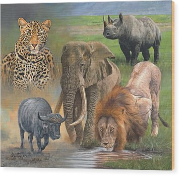 Africa's Big Five Wood Print by David Stribbling