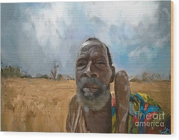 Wood Print featuring the mixed media Afrikan Bushman by Vannetta Ferguson