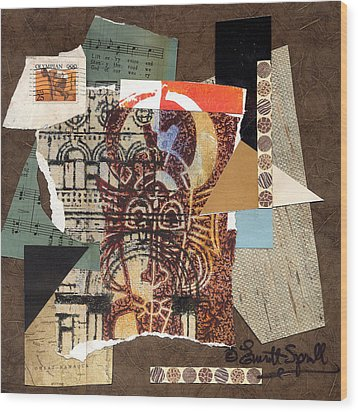 Afro Collage B Wood Print by Everett Spruill