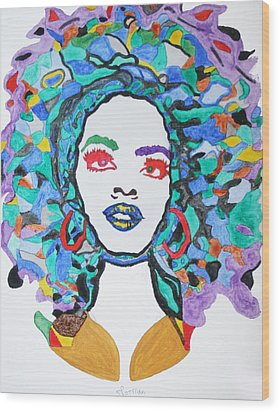 Afro Lauryn Hill  Wood Print by Stormm Bradshaw