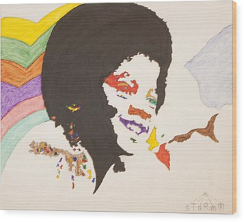 Wood Print featuring the painting Afro Michael Jackson by Stormm Bradshaw
