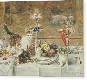 After Dinner Guests Wood Print by Louis Eugene Lambert