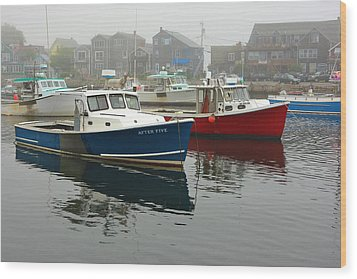 After Five  Rockport Harbor Wood Print by Gail Maloney