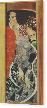 Wood Print featuring the painting After Gustav Klimt by Sylvia Kula