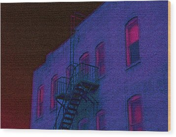 Wood Print featuring the photograph after hours glow -Seurat Style by Denise Beverly