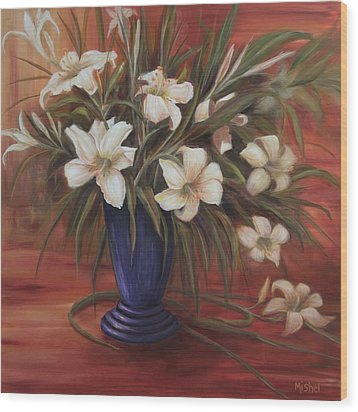 After Noon Lilies Wood Print