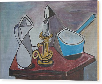 After Picasso Still Life With Casserole Wood Print by Veronica Rickard