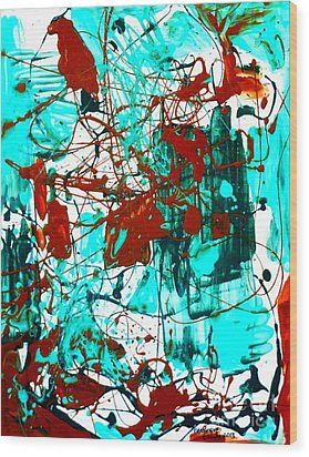 After Pollock Wood Print by Genevieve Esson