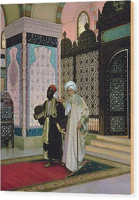 After Prayers At The Mosque Wood Print by Rudolphe Ernst