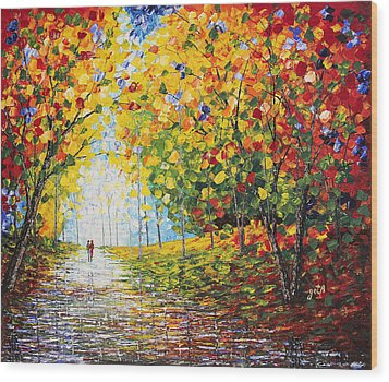 Wood Print featuring the painting After Rain Autumn Reflections Acrylic Palette Knife Painting by Georgeta Blanaru