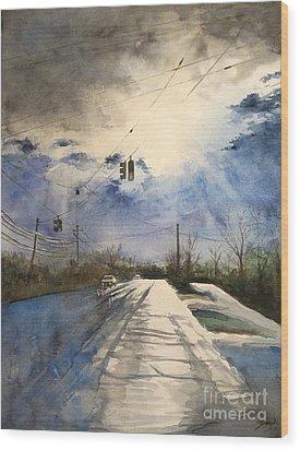 After Rain -on The Michigan Ave. Saline Michigan Wood Print by Yoshiko Mishina