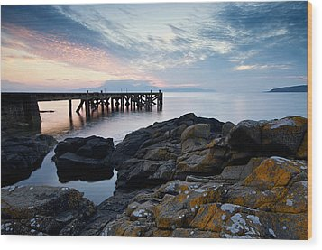 After Sun At Portencross Wood Print by Stephen Taylor