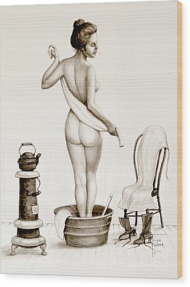 After The Bath 1890's Wood Print