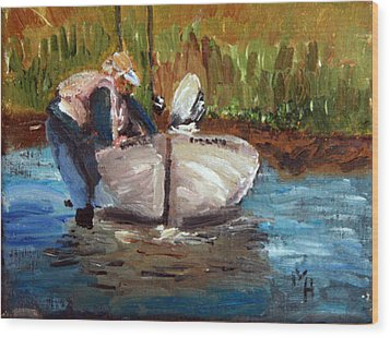 Wood Print featuring the painting After The Fish by Michael Helfen