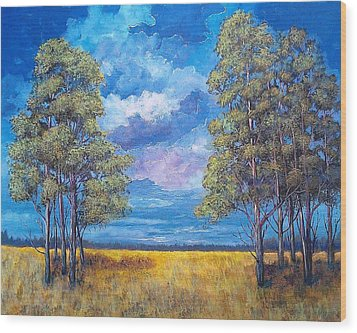 Wood Print featuring the painting After The Rain by Suzanne Theis
