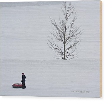 Wood Print featuring the photograph After The Snow Tube Ride by Ann Murphy
