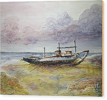 Wood Print featuring the painting After The Storm by Joey Agbayani
