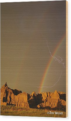 After The Storm - Lightning And Double Rainbow Wood Print by Joan Wallner