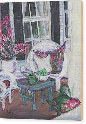 Afternoon At Emmaline's Front Porch Wood Print by Helena Bebirian
