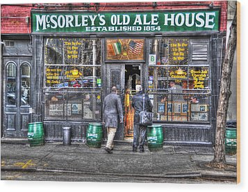 Afternoon At Mcsorley's Wood Print by Randy Aveille
