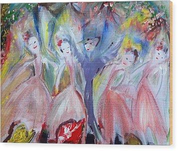 Afternoon Bird Ballet Wood Print by Judith Desrosiers