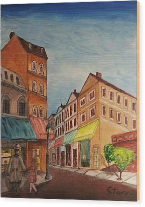 Afternoon Cafe Wood Print by Irving Starr