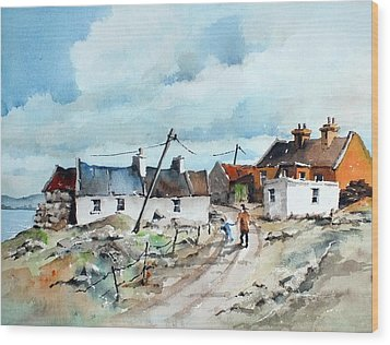 Afternoon Stroll In Dugort Achill Wood Print by Val Byrne