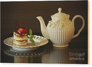 Afternoon Tea And Tiramisu Wood Print by Inspired Nature Photography Fine Art Photography