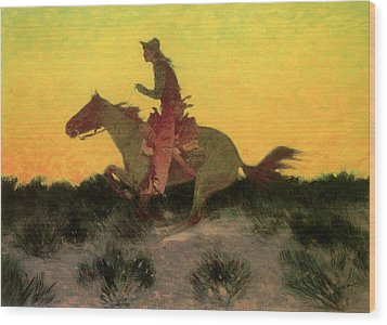 Against The Sunset Wood Print by Frederic Remington