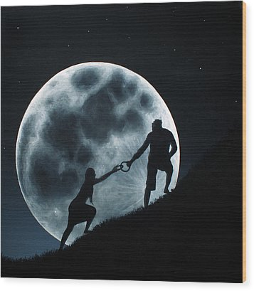 Agape Under A Full Moon Rising Wood Print