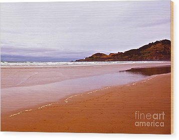 Agate Beach Oregon With Yaquina Head Lighthouse Wood Print by Artist and Photographer Laura Wrede