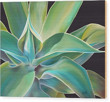 Wood Print featuring the painting Agave 2 by Laura Bell