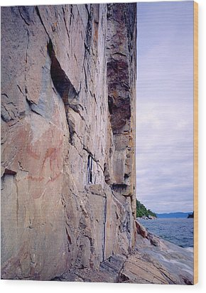 Agawa Indian Pictographs Wood Print by Tim Hawkins