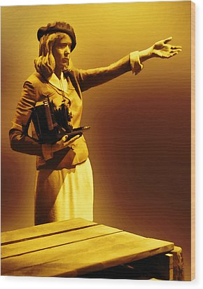 Aged Vintage News Photographer Wood Print by Linda Phelps