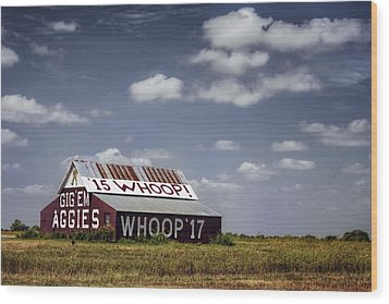 Aggie Barn Wood Print by Joan Carroll