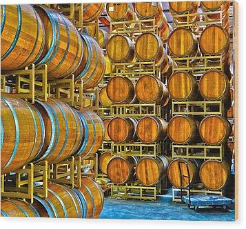 Aging Wine Barrels Wood Print