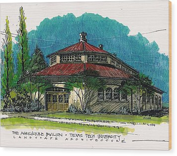 Agriculture Pavilion At Texas Tech Wood Print by Tim Oliver