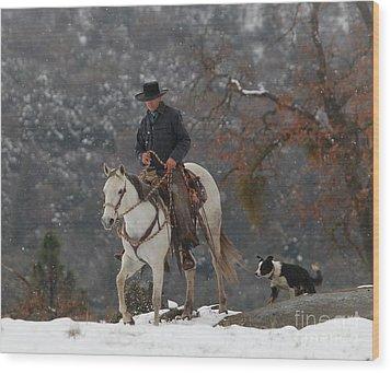 Ahwahnee Cowboy Wood Print