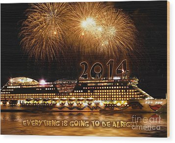 Wood Print featuring the photograph Aida Cruise Ship 2014 New Year's Day New Year's Eve by Paul Fearn