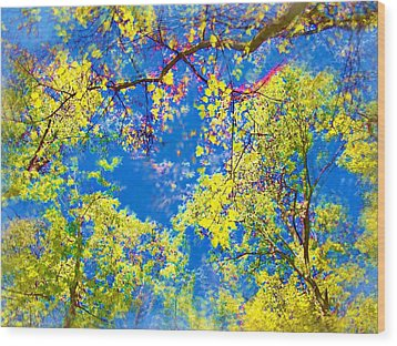 Air Brushed Spring Trees Wood Print